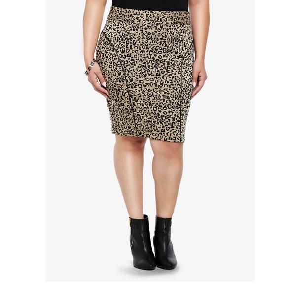 423d86cd1 torrid Skirts   Leopard Print Pencil Black Trim Skirt 20   Poshmark